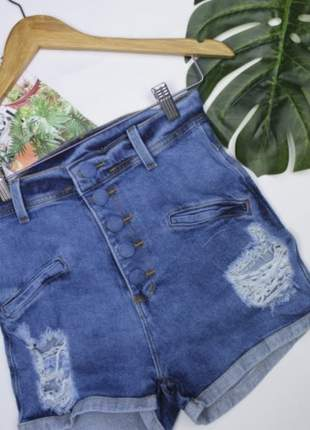 Short jeans cintura alta destroyed levanta