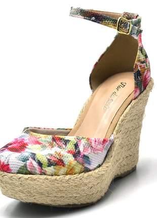 Sandália anabela aberta salto plataforma floral 3008