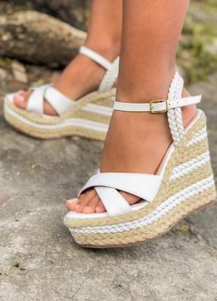 Sandália anabela feminina  branca x