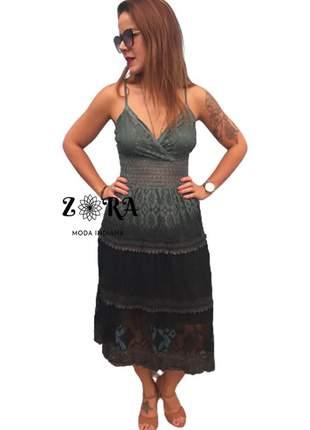 Vestido de renda degradê preto lindo