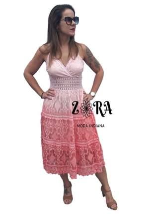 Vestido de renda degrade rosa luxo