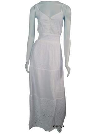 Vestido de algodão com lese