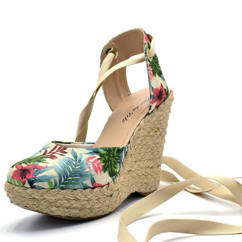 42a53a6214 Sandália anabela floral salto plataforma amarrar na perna corda - R ...