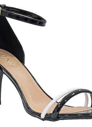 Sandália feminino salto baixo clássica verniz  preto
