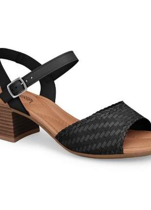 Sandália salto feminina mississipi bertini preto verão