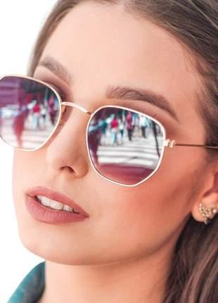 Óculos de sol fem modelo hexagonal estiloso proteção uv400
