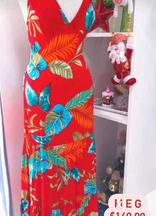 Vestido longo estampado vermelho