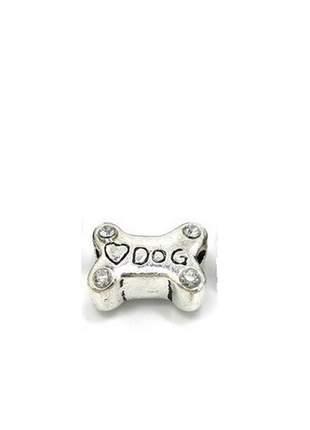 Berloque osso de cachorro charm com cristais compatível com bracelete pandora vivara