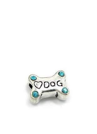 Berloque osso de cachorro charm com cristais azul claro compatível com pandora vivara