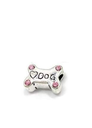 Berloque osso de cachorro charm com cristais rosa compatível com bracelete pandora vivara