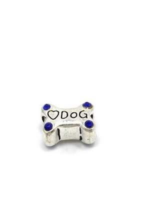 Berloque osso de cachorro charm com cristais roxo compatível com bracelete pandora vivara