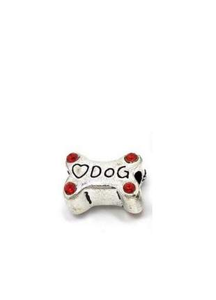 Berloque osso de cachorro charm com cristais vermelhos compatível com pandora vivara