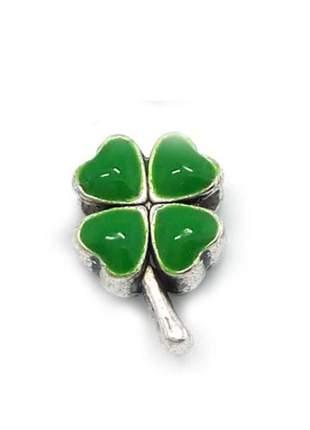 Berloque charm trevo verde compatível com bracelete pandora vivara