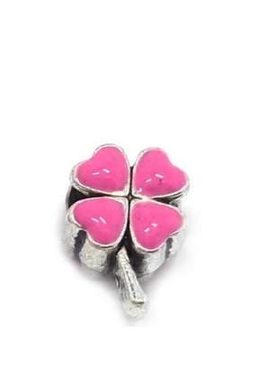 Berloque charm rosa verde compatível com bracelete pandora vivara