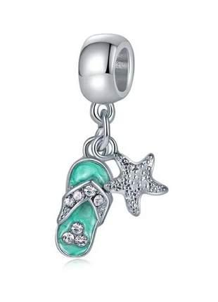 Berloque pingente chinelo estrela do mar praia compatível com bracelete pandora vivara
