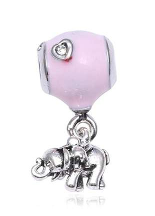 Berloque pingente rosa e elefante compatível com bracelete pandora vivara