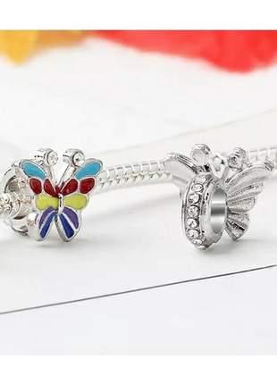 Berloque borboleta colorida compatível com bracelete pandora vivara