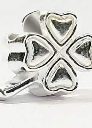 Berloque charm trevo compatível com bracelete pandora vivara