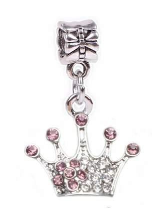 Berloque pingente coroa cravejada de cristais compatível com bracelete pandora vivara