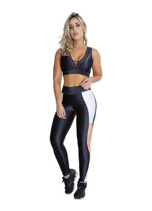 Calça fitness com recortes e viés preto/branco/salmão