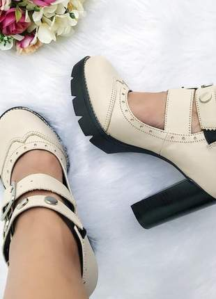 Sapato oxford louise fun store off white salto tratorado confortavel