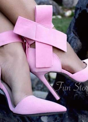 Scarpin barbara fun store rosa bebe laço salto 11 cm bico fino
