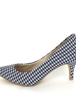 Scarpin salto baixo fun store piquenique xadrez vichy azul e branco