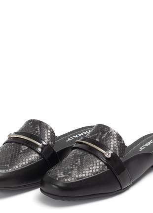 Sapato mule feminino piccadilly salto baixo cobra preto
