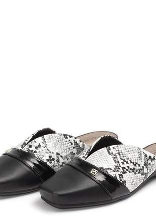Sapato mule feminino bico quadrado salto baixo piccadilly