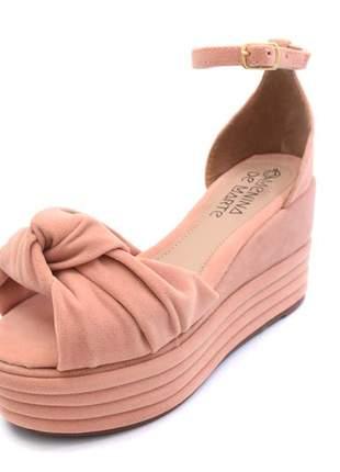 Sandália plataforma amarração preta rosé caramelo