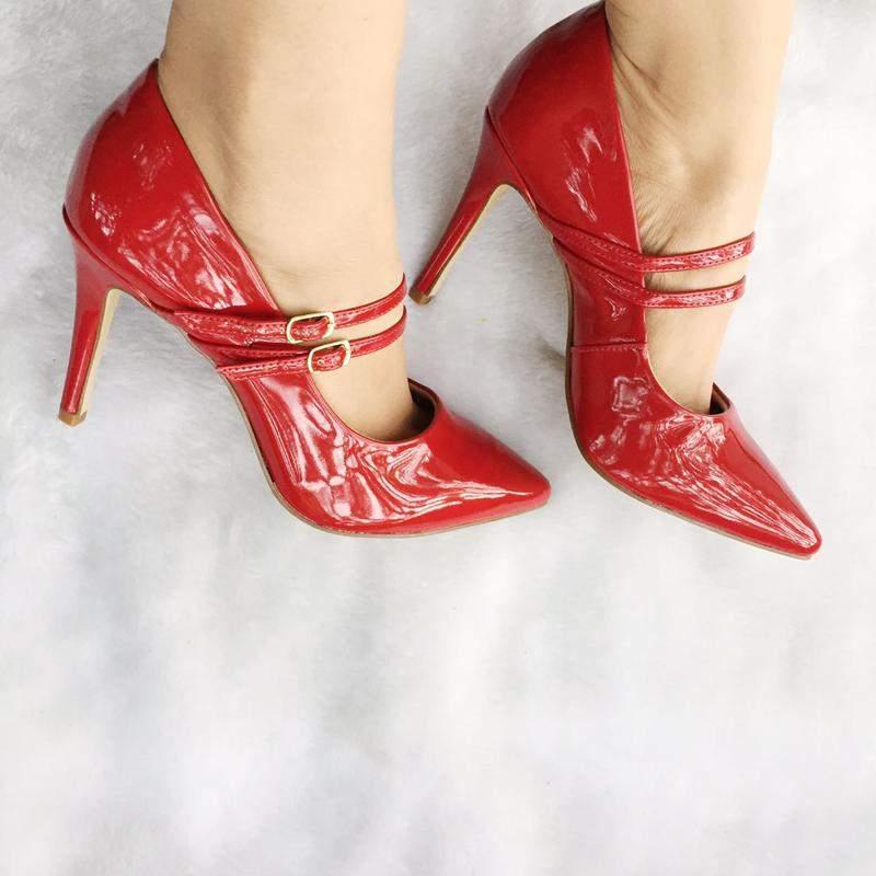 7e23140e20 Scarpin selena fun store vermelho verniz salto 9 cm tiras duplas - R ...