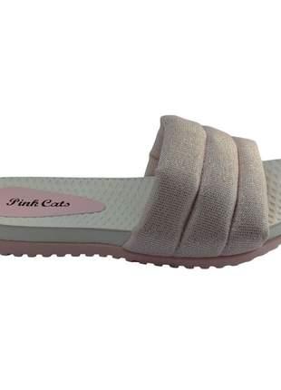 Chinelo Slide Feminino Pink Cats Blogueirinha Fashion