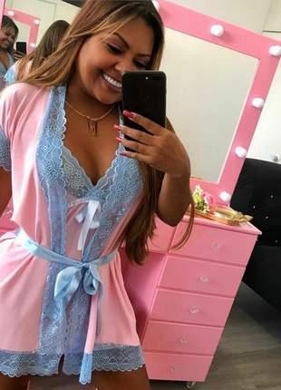 Roby rosa azul renda lingerie feminino