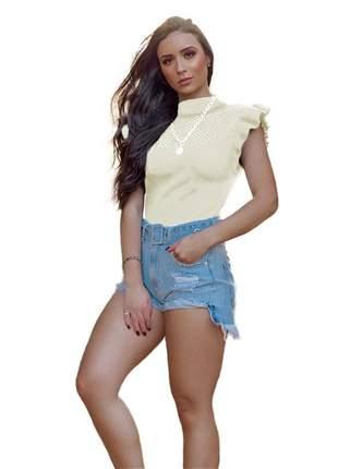 Blusa tricot modal gola alta manga curta com babado r:1038(branco)