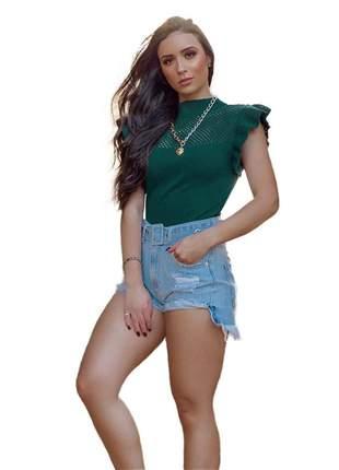 Compartilhar:  blusa tricot modal gola alta manga curta com babado r:1038(verde)