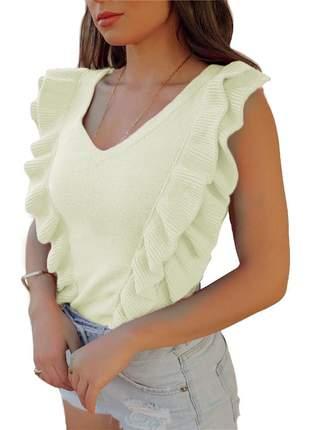 Blusa tricot modal gola v regata com babado blogueira r:1039(branco)