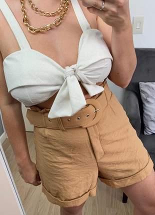 Cropped feminino alcinha top amarrado blusa de linho com bojo bege