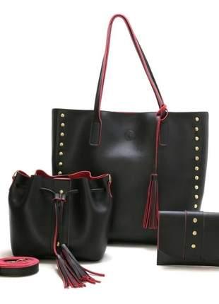 Bolsa feminina kit 3 bolsas
