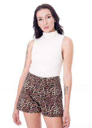 Shorts de cintura alta animal print