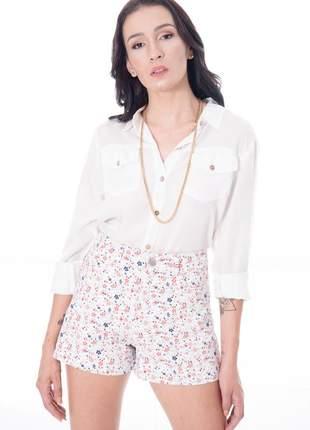 Shorts de cintura alta floral