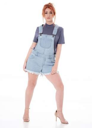 Jardineira jeans barra desfiada basic