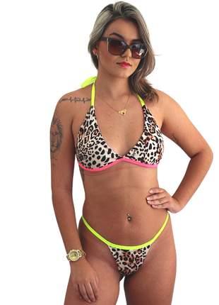 Biquini oncinha com neon verão praia piscina fio dental cavado conjunto traje de banho