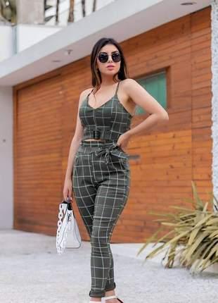 Conjunto feminino cropped e calça moda blogueira festa elegante com cinto alcinha