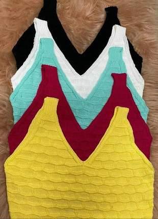 Cropped tricot tijolinho várias cores