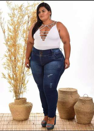 Calça jeans plus size botões