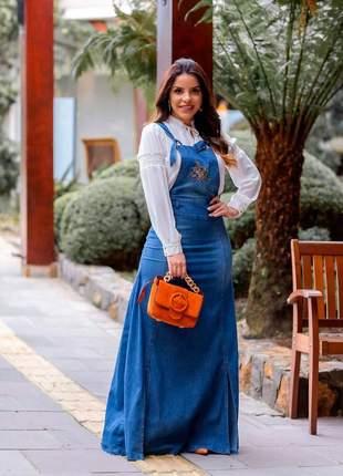 Salopete jeans longa nesgas bordado joyaly roupas evangelica