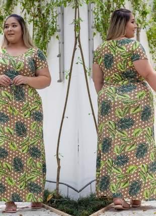 Vestido estampado longo plus size