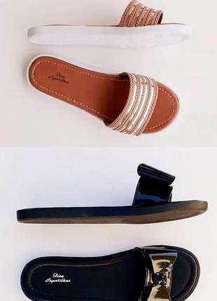 Kit 2 pares sandália rasteira chinelo preto top e listras rosê promoção