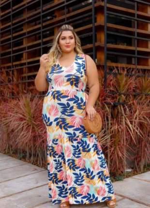 Vestido longo estampado plus size modelo regata