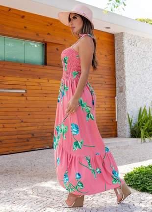 Vestido longo primavera com amarração